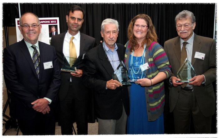 VJ White with Virinder Singh, Tom Hayden, (Ann Hansen for) Hal Romanowitz and Richard Maullin
